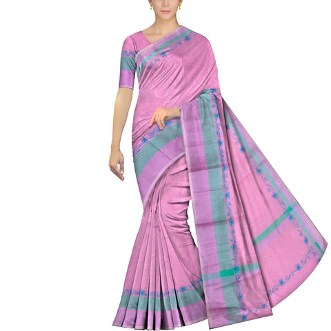 Blossom Pink Embroidery Work Body Plain, Border Embroidery Banaras Saree