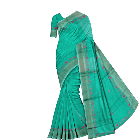 Bluish green Embroidery Work Plain Body, Border Embroidery Banaras Saree