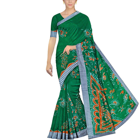 Forest Green Chennuri Batik Checks Border, Allover Floral Work Saree