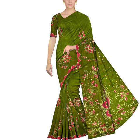 Oak Brown Chennuri Batik Pallu Big Flower & Allover Flower Plant Saree