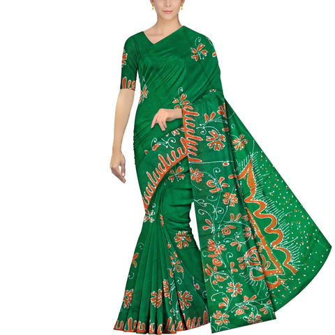 Forest Green Chennuri Batik Pallu Big Flower & Allover Flower Plant Saree