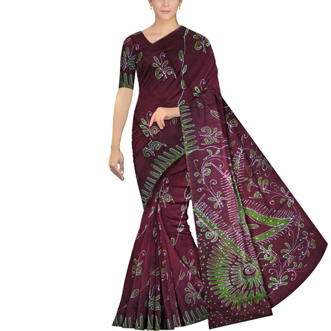 Maroon Chennuri Batik Pallu Big Flower & Allover Flower Plant Saree
