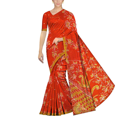 Dark Orange Chennuri Batik Pallu Big Flower & Allover Flower Plant Saree
