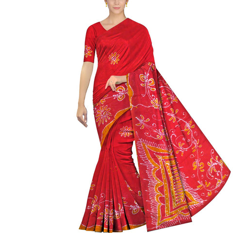 Red Chennuri Batik Pallu Big Flower & Allover Flower Plant Saree