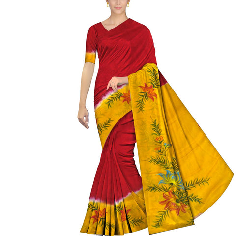 Red Chennuri Hand Print Body Plain, Border & Pallu Floral Print Saree