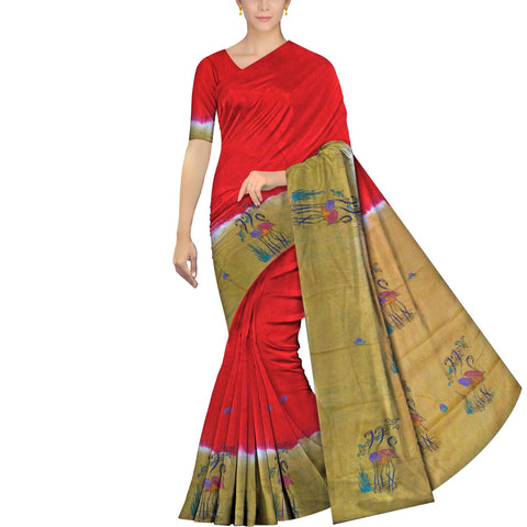 Red Chennuri Hand Print Plain Body, Pallu & Border Storks Print Saree