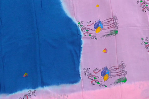 Purple Flower Chennuri Hand Print Plain Body, Pallu & Border Storks Print Saree