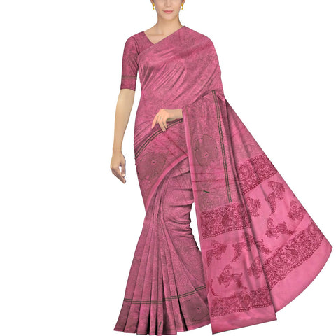 Hot Pink Chennuri Screen Print Allover Flowers & Parrot Print Saree