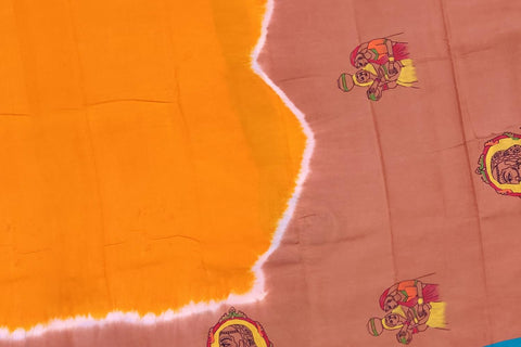 Orange Chennuri Hand Print Pallu & Border Ladies Print Saree