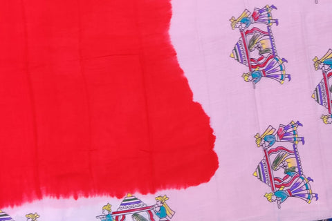 Red Chennuri Hand Print Pallu & Bottom Pallaki Print Saree
