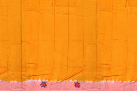 Orange Chennuri Hand Print Plain Body, Pallu Lady Print Saree