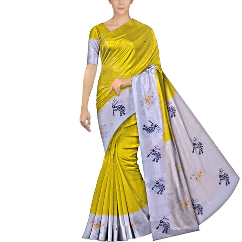 Bright Gold Chennuri Mirror Work Pallu & Bottom Tortoise Print Saree