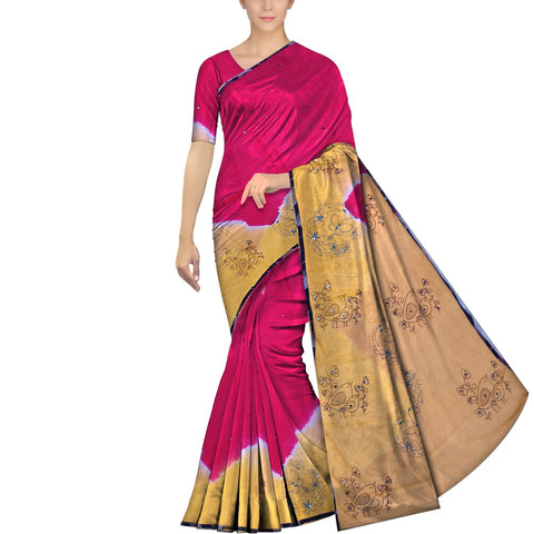Dark Pink  Chennuri Mirror Work Bottom & Pallu Butterfly Print Saree