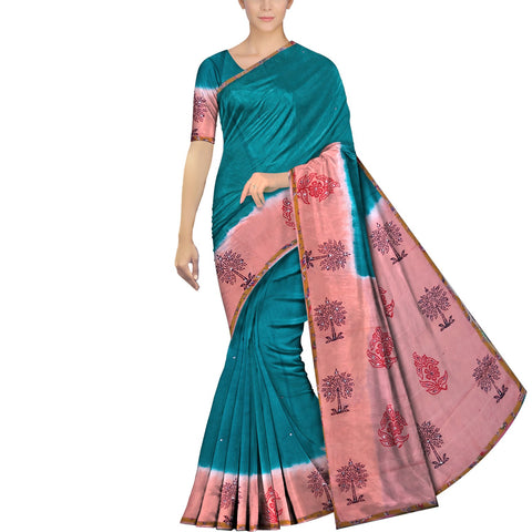 Slate Blue Chennuri Mirror Work Body Plain, Pallu & Bottom Tree Print Saree