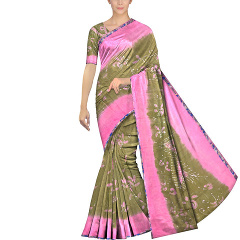 Forest Green Chennuri Batik Pallu Star & Allover Flowers Saree