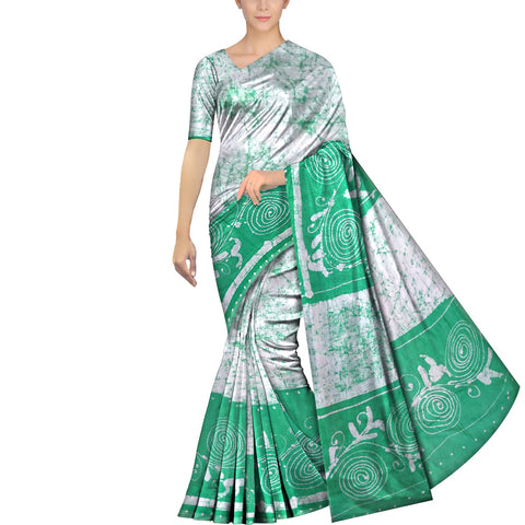 White Chennuri Batik Pallu & Bottom Design Saree