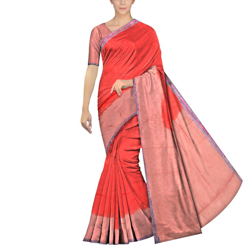 Red Chennuri Batik Design Border, Plain Body & Pallu Saree