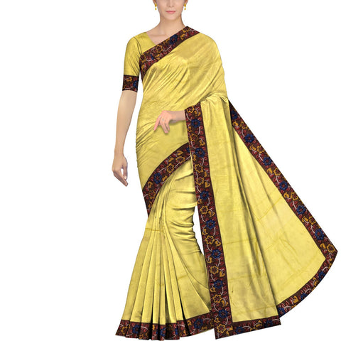 Corn Yellow Chennuri Batik Border Patch work Saree