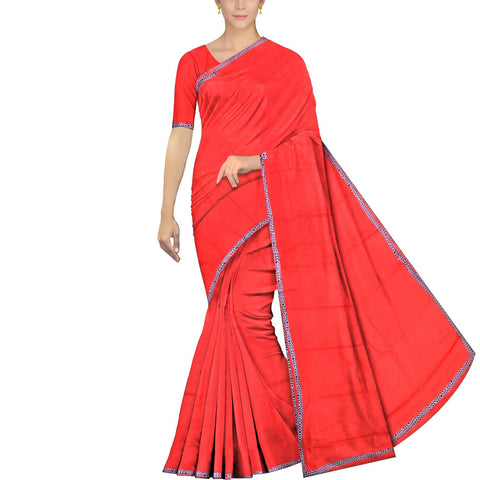 Dark Coral Chennuri Batik Plain Saree Border Patch Saree