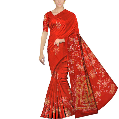 Red Chennuri Batik Body Allover Floral Branch Saree