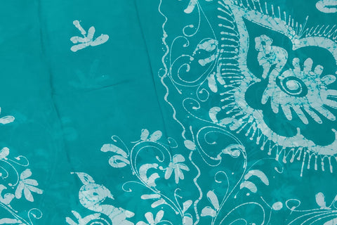 Bluish Grey Chennuri Batik Body Allover Floral Branch Saree
