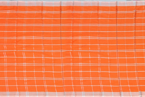 Dark Orange Chanderi Block Print Checks Weave, Elephant Print Saree