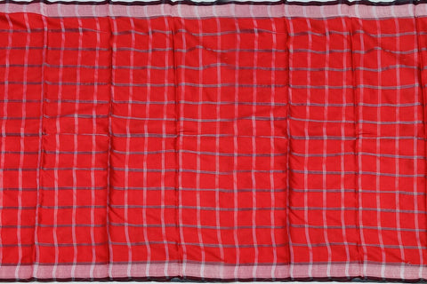Red Chanderi Block Print Checks Weave, Elephant Print Saree