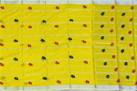Yellow Chanderi Block Print Checks Weave, Elephant Print Saree