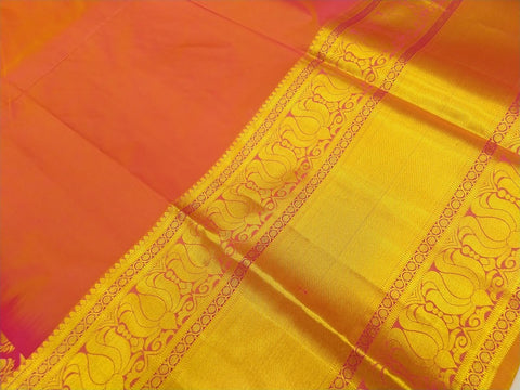 Hot Pink Handweave Big zari border with emboss brocade Dharmavaram Pavadas (11+)