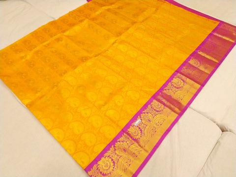 Bright Gold Kuppadam Zari floral border with body brocade Dharmavaram Pavadas (11+)