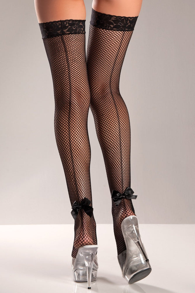 BW603 Bow Fishnet Thigh Highs