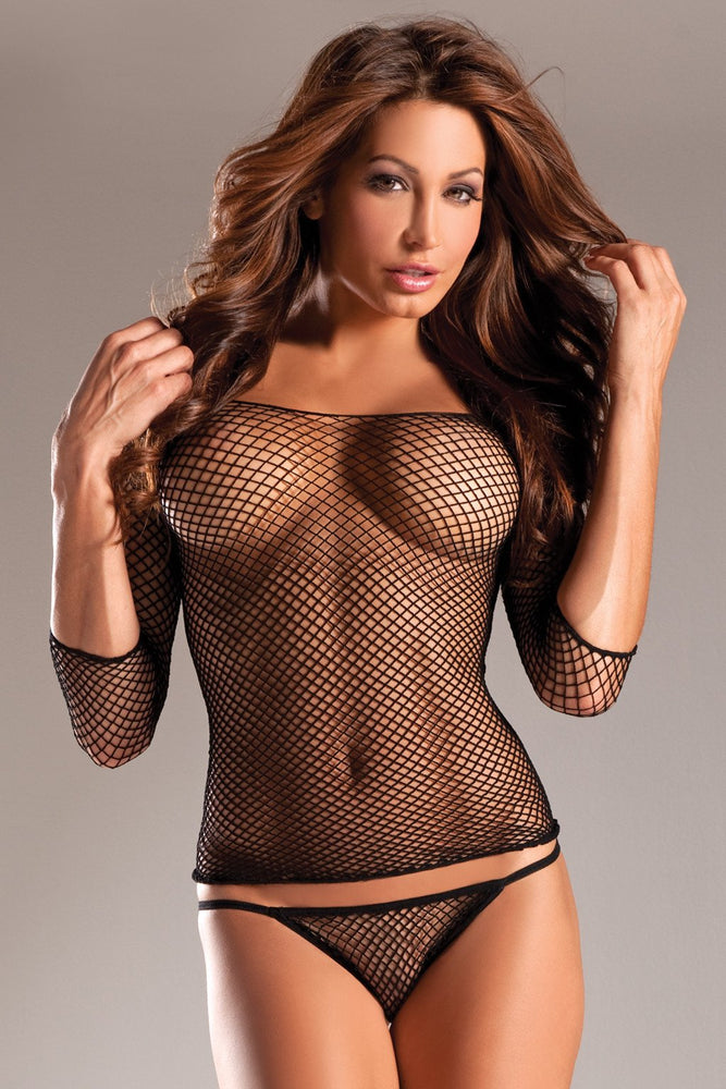 BW608 Long Sleeve Fishnet Top