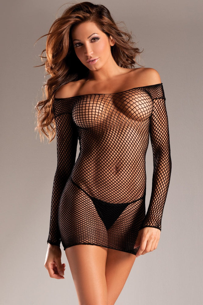BW609 Long Sleeve Fishnet Dress