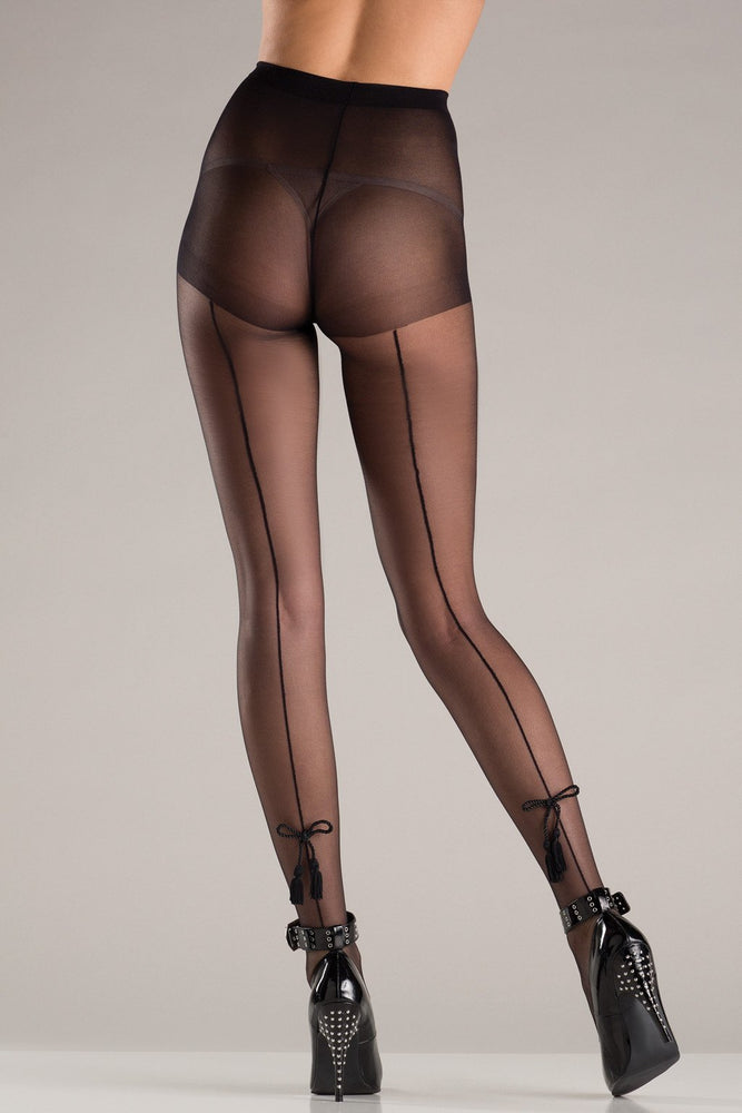 BW751 Tassle Bow Back Seam Pantyhose