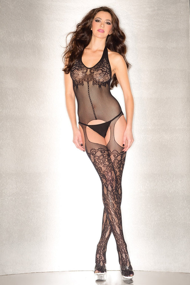 BWB91B Floral Fishnet Body Stocking