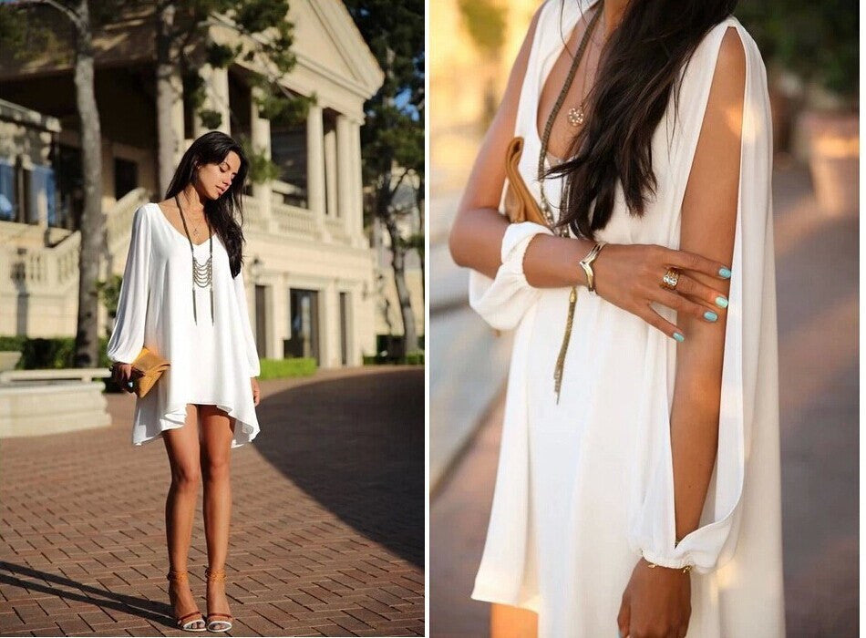 Summer Dress Chiffon Loose Sexy V Neck Strapless A-line Dress-Gift Box Planet-White-S-Gift Box Planet