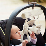 Rabbit baby music hanging bed safety seat plush toy Hand Bell Multifunctional Plush Toy Stroller Mobile Gifts Free Shipping