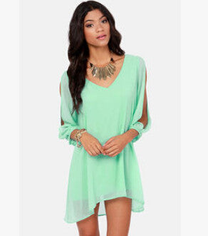 Summer Dress Chiffon Loose Sexy V Neck Strapless A-line Dress-Gift Box Planet-Light green-S-Gift Box Planet