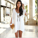 Summer Dress Chiffon Loose Sexy V Neck Strapless A-line Dress-Gift Box Planet-White-M-Gift Box Planet