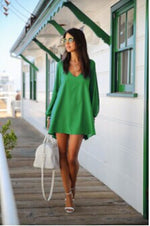 Summer Dress Chiffon Loose Sexy V Neck Strapless A-line Dress-Gift Box Planet-Green-S-Gift Box Planet