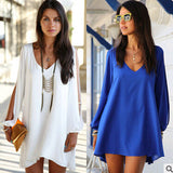 2017 HOT Summer Dress Chiffon Loose Sexy V Neck Strapless A-line Casual Mini Shirt Dress