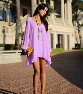 Summer Dress Chiffon Loose Sexy V Neck Strapless A-line Dress-Gift Box Planet-Purple-S-Gift Box Planet