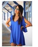 Summer Dress Chiffon Loose Sexy V Neck Strapless A-line Dress-Gift Box Planet-Deep Blue-S-Gift Box Planet