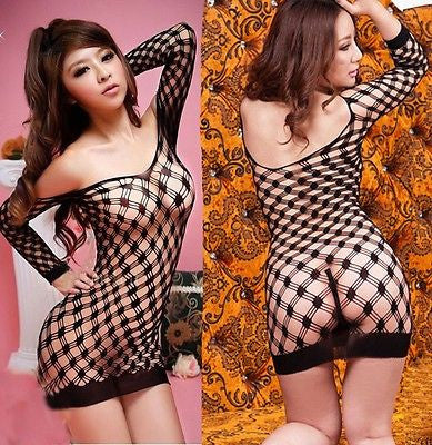 Sexy Women Fishnet Babydoll Lingerie Mini Dress Underwear Intimate Nightwear-lingerie-Gift Box Planet-Black-One Size-Gift Box Planet