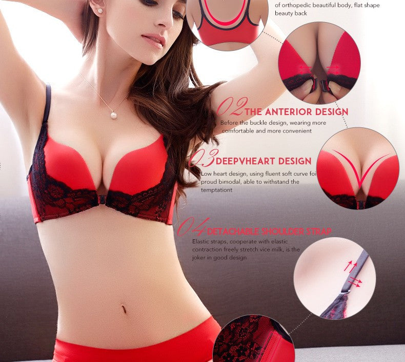 Front button glossy seamless push up female sexy lace bra-lingerie-Gift Box Planet-khaki-70B-Gift Box Planet