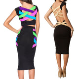 Women Sexy Plus Size Knee Length Black Bodycon Dress