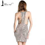 2018 Sexy V-neck halter tight sequins dress FT2380