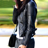 Women Faux Soft Leather Jacket A48