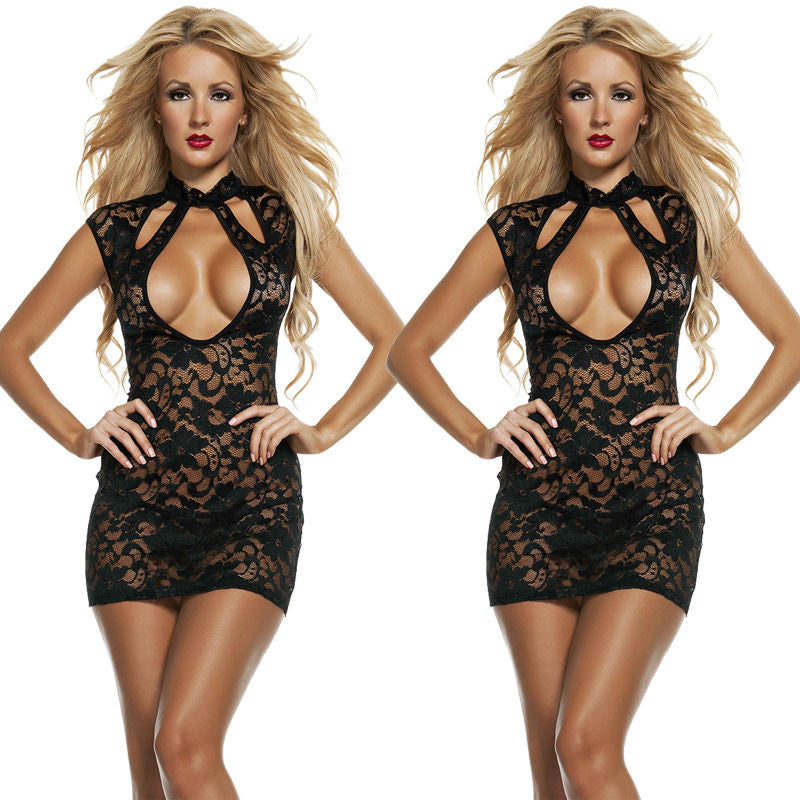 Hot Sexy Women Backless Black Babydoll Lingerie Lace Underwear Sleepwear Dress