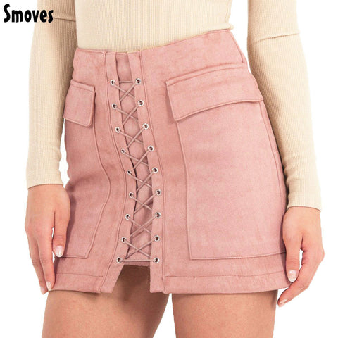 Vintage High Waist External Pocket Suede Lace Up Skirt